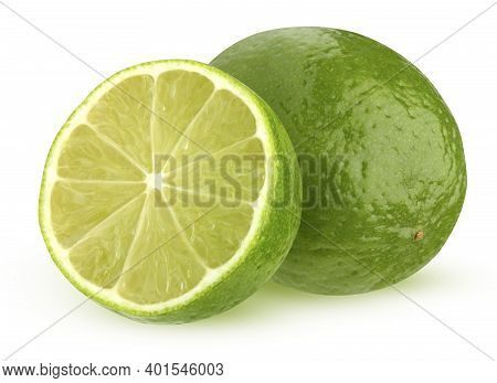 Isolated Lime. One And A Half Limes Isolated On A White Background With A Clipping Path. Green Citru