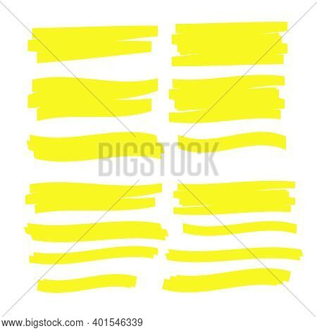 Yellow Highlighter Marker Strokes. Yellow Watercolor Hand Drawn Highlight