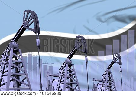 Botswana Oil And Petrol Industry Concept, Industrial Illustration On Botswana Flag Background. 3d Il