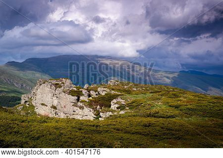 Green Valley Nature Landscape. Mountain Layers Landscape. Summer On Mountain Landscape. Hills And Mo