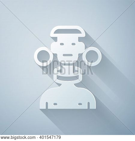Paper Cut African Tribe Male Icon Isolated On Grey Background. Paper Art Style. Vector