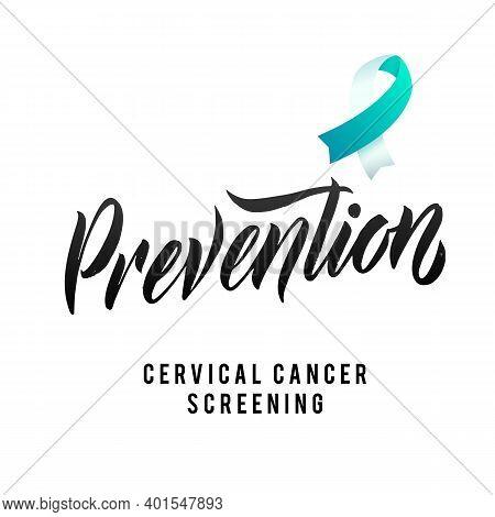 Prevention. Cervical Cancer Screening Vector Illustration. Ribbon Around Letters. Vector Stroke Whit
