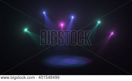 Color Stage Light Effect Background.abstract Spotlight Stage.concert Lens Flare Background