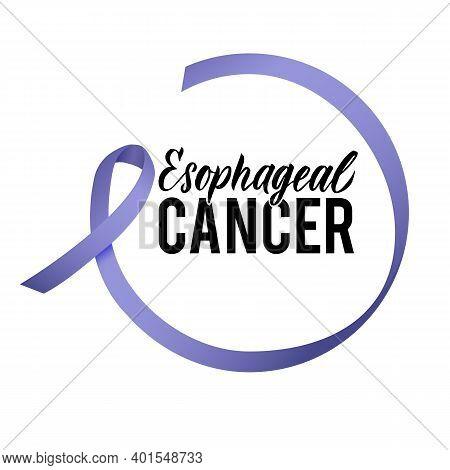 Vector Esophageal Cancer Awareness Calligraphy Poster Design. Stroke Violet Ribbon. April Is Cancer