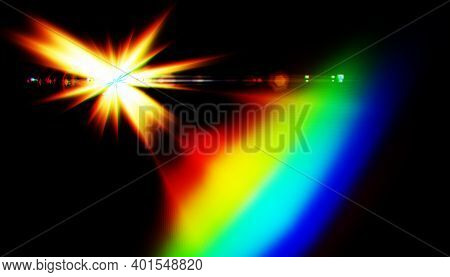 Lens Flare Or Star Flare In Black Background.modern Nature Flare Effect With Spectrum Light For Over