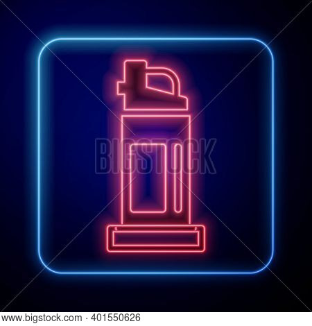 Glowing Neon Pepper Spray Icon Isolated On Blue Background. Oc Gas. Capsicum Self Defense Aerosol. V