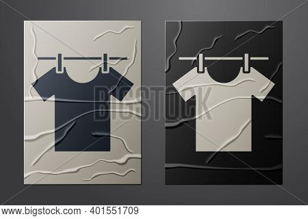 White Drying Clothes Icon Isolated On Crumpled Paper Background. Clean Shirt. Wash Clothes On A Rope