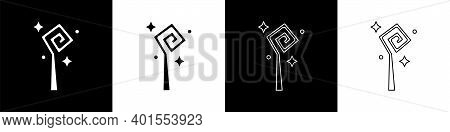 Set Magic Staff Icon Isolated On Black And White Background. Magic Wand, Scepter, Stick, Rod. Vector