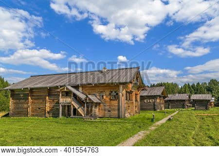 Historical Wooden House In Open Air Museum In Semenkovo, Russia