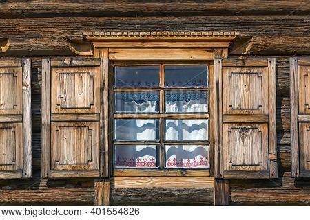 Window In Historical Wooden House In Open Air Museum In Semenkovo, Russia