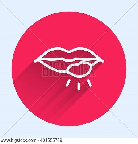 White Line Herpes Lip Icon Isolated With Long Shadow. Herpes Simplex Virus. Labial Infection Inflamm