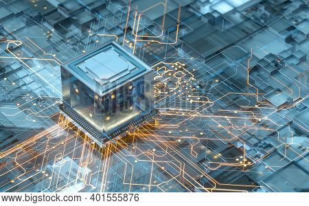Circuit Board, Electronics Cyberspace Background, 3D Rendering.