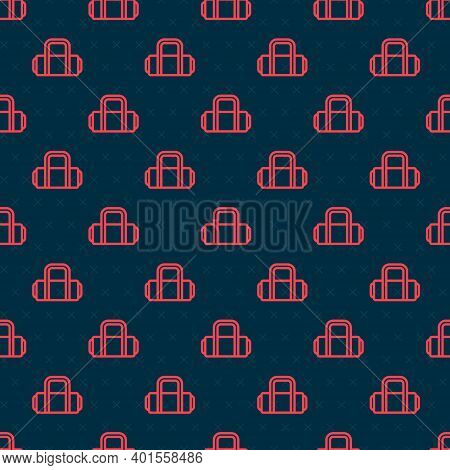 Red Line Suitcase For Travel Icon Isolated Seamless Pattern On Black Background. Traveling Baggage S