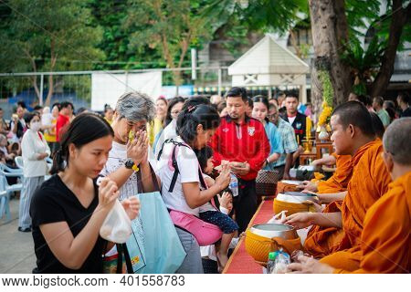 Thai Monk Ask For Alms For Buddhist To Make Merit
