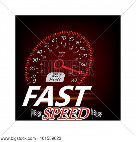 Power Meters, Fast Or Slow Internet Connection Speed Meter Stages. Chrome Neon Board. Measuring Spee