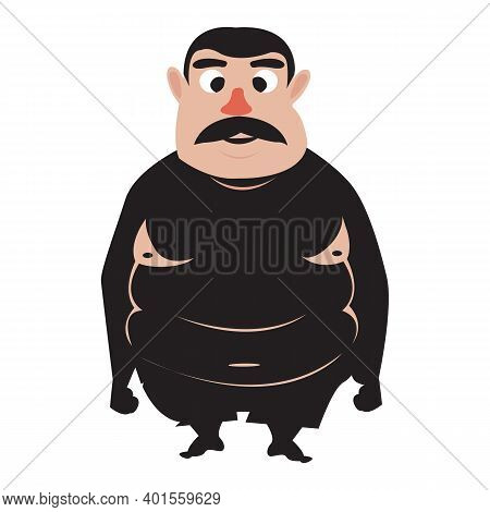 Fat Man Icon. Cartoon Of Fat Prison Man Icon For Web Design Isolated On White Background