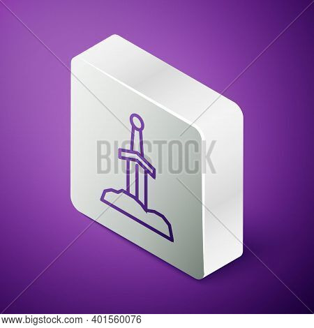 Isometric Line Sword In The Stone Icon Isolated On Purple Background. Excalibur The Sword In The Sto