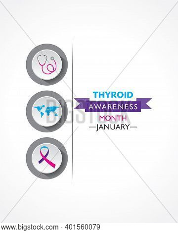 Vector Illustration Of Thyroid Awareness Month Observed In January