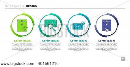 Set Envelope, Envelope With Magnifying Glass, Envelope And Delete Envelope. Business Infographic Tem