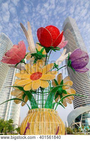 Abu Dhabi, United Arab Emirates - July 26, 2020: Flower Decoration On Corniche In Abu Dhabi