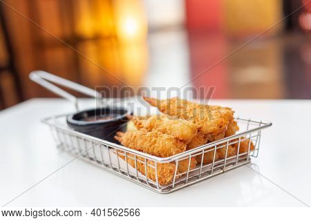 Breaded Shrimps With Chili Sauce Served At The Bar, Finger Food