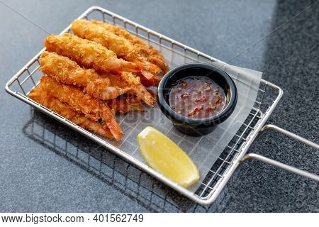 Breaded Shrimps With Chili Sauce And Slice Of Lemon Served At The Bar, Finger Food