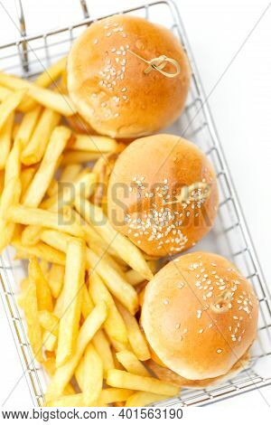 Mini Burgers With French Fries Served At The Bar, Finger Food, Top View
