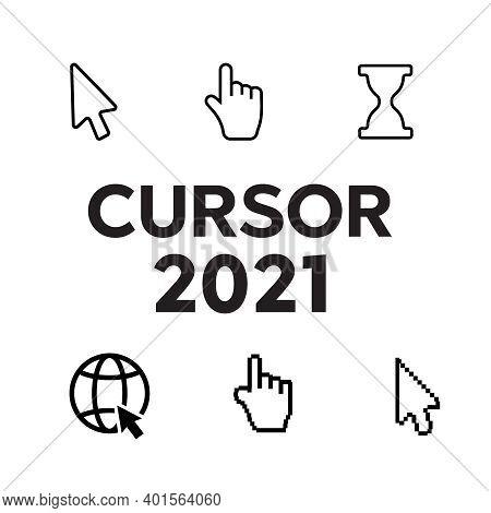 Pixel Cursors Icons. Mouse Computer Cursor. Hand Arrow Web Cursor Vector