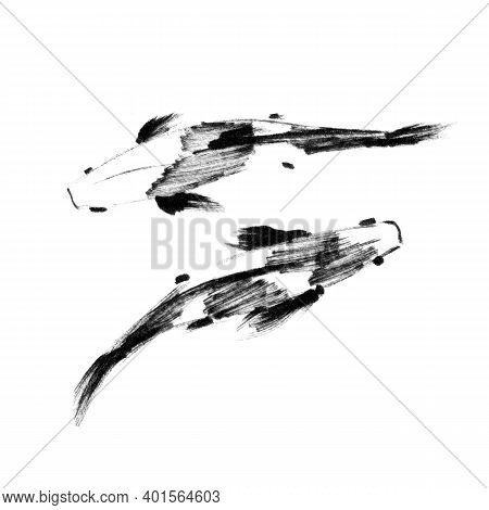 Sketch Of Pair Japanese Koi Fishes, Top View