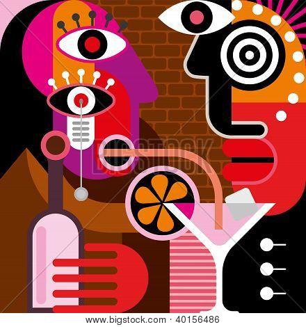 Man And Woman At The Bar - Vector Illustration.