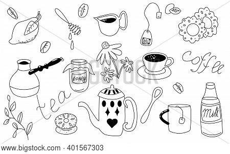 Coffee-tea Big Set. Vector Doodle Illustration. Here Lemon, Coffee Beans, Coffee Pot, Honey Jar, Hon