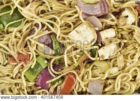 Veg Paneer Noodles Top View, Chowmein Texture Background