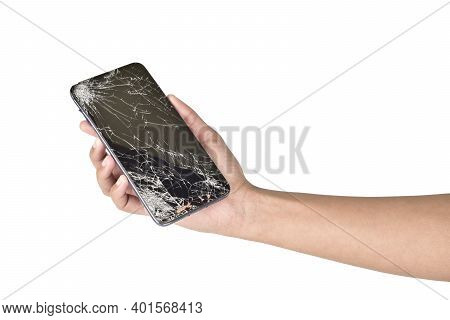Broken Smartphone In Hand Isolated On White Background With Clipping Path
