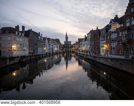 Postcard Reflection View Of Poortersloge In Spiegelrei River Canal Channel In Historic City Center O
