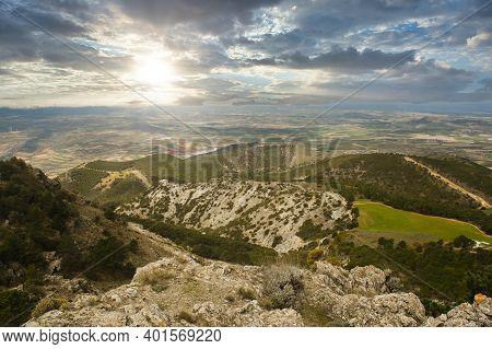 Aerial Landscape At La Silleta De Padul, Sierra Nevada, Andalucia, Spain. Beauty In Nature