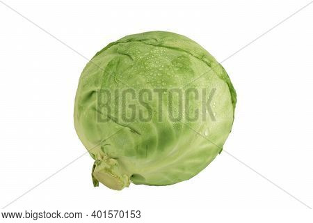 Cabbage Isolated On White Background With Clipping Path