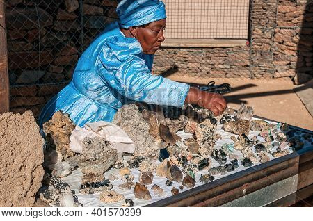 Spitzkoppe, Namibia - June 18, 2012: Crystals And Other Semi-precious Stones At The Uibi-oas Crystal
