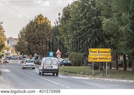 Stara Pazova, Serbia - September 19, 2020: Cars Leaving Stari Banovci And Entering Novi Banovci On T