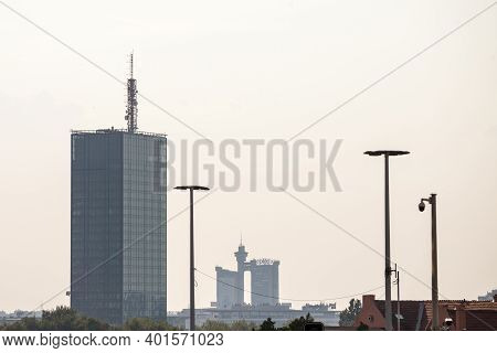 Belgrade, Serbia - August 21, 2018: Skyline And Panorama New Belgrade (novi Beograd) At Sunset, With