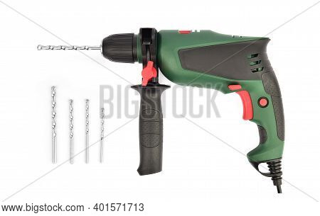 Drill Isolated On White Background With Drill Bit Set.