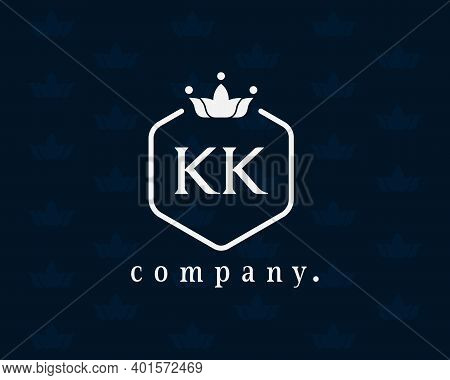Letter Kk, K Luxury Crown Monogram With The Hexagon. Graceful Emblem And Elegant Calligraphy. The Vi
