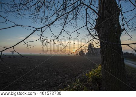 Beautiful Twilight In Countryside In Winter In North East Of Italy