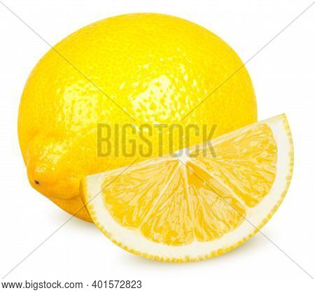 Isolated Lemon. One Whole Lemon Citrus Fruit And Cut Isolated On White Background With Clipping Path