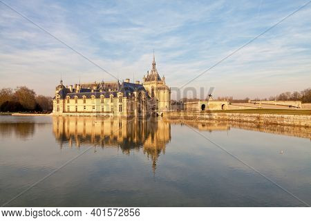 Chantilly, France - February 16 2019:  The Castle Of Chantilly In The Department Of Oise In Hauts-de