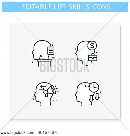 Life Skills Line Icons Set. Personality Strengths. Oratory, Management, Business Skills And More. So