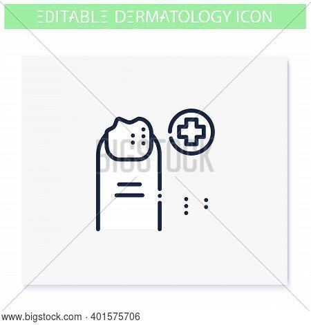 Nail Disease Icon. Podology, Dermatology Disease. Fungal Infection, Psoriasis. Nail Care, Cosmetolog