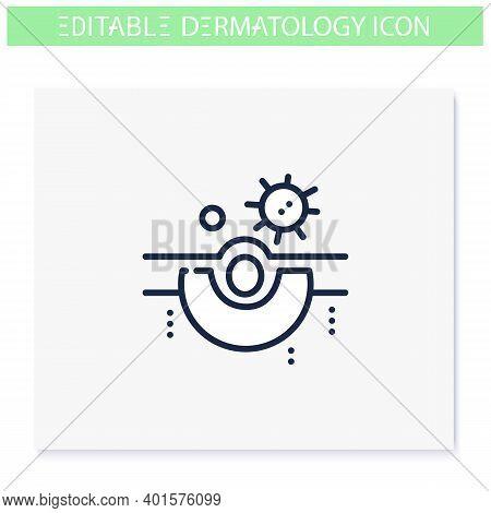Skin Bacteria Line Icon. Skin Problem, Dermatologic Disease. Bacterial Infection. Skincare, Cosmetol