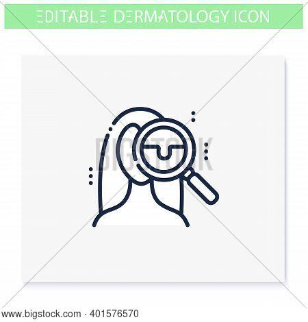 Skin Checkup Line Icon. Skincare, Dermatology. Medical Examination, Dermatologic Diseases Treatment.