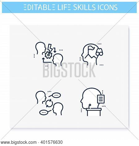 Life Skills Line Icons Set. Personality Strengths.diplomacy, Oratory, Leadership, Communication And