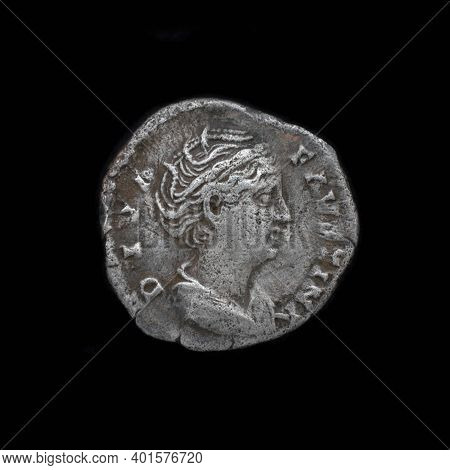 Roman Silver Denarius. Ancient Roman Silver Coin. Faustina Ii Silver Denarius 175 Ad. Roman Silver C